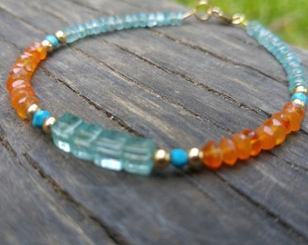 carnelian apatite faceted  beads 14k gold fill bracelet