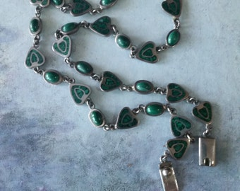 Mexican silver necklace - Vintage Mexican sterling silver jewelry - TAXCO jewelry - Vintage Malachite necklace - VJR309