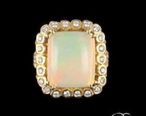 Ring Opal diamond vintage rose gold 18K Tank vintage jewelry