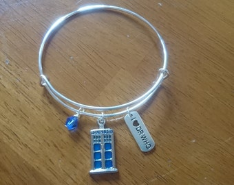 SALE Police box Dr who silver expandable bracelet/necklace/key ring options
