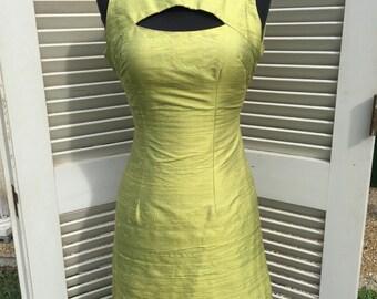 1960s lime green, raw silk mini dress