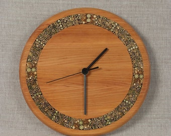 Hand Carved Oak & Reed Wall Clock