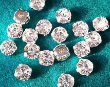 8mm 50pcs Sew On Crystal Clear Rhinestones in Silver Color Prong Setting Flat Back loose sew on rhinestones crystals beads glass gemstones
