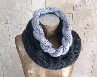 Braided scarf  - Infinity Scarf  - Chunky Knit Scarf - Winter Shawl -  Infinity Scarf - Circular Scarf - Grey Scarf