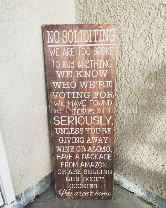 Front Door Sign No Soliciting Sign Porch By