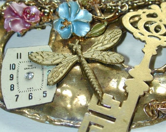 Steampriss Steampunk watchworks dragonfly repurposed necklace