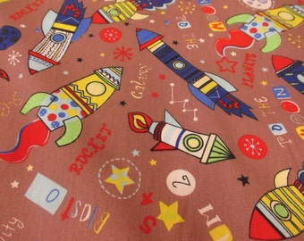 Funky Brown Spaceships and Rockets Printed Polycotton Fabric. Price Per Metre