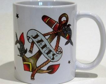 Name mug anchor and fish by TattooMugLady Father's Day mug gift for him birthday mug for him 18th birthday name mug customised to order