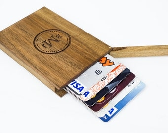 Personalized Business Card Holder , Monogrammed Wooden Wallet, Walnut Wood ,Wooden Card Holder, Wood Credit Card Holder , Wood Wallet