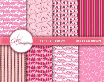 Digital Papers Pink Valentine Day - Love Hearts, Printable Backgrounds for Scrapbooking, Card Design, web design, instant download #490