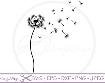 Dandelion SVG vector files for cricut, floral cutting files flowers, clipart floral, silhouette flowers, DXF files dandelion, svg dandelion