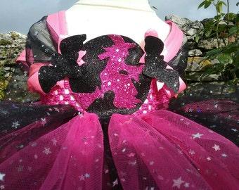 Halloween Dress, Halloween Witch Dress, Bat Dress, Pink And Black Witch Dress, Girls Halloween Costume, Handmade, Girls Witch Dress,