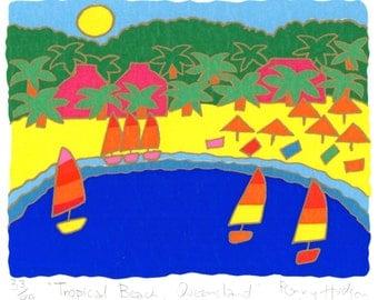 "Australian Limited Edition Screenprint ""Tropical Beach Queensland"""