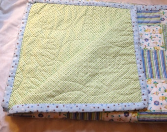 Flannel Baby Quilt - Ducks and Rattles