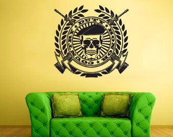 rvz1676 Wall Decal Vinyl Sticker Decals Skull Guns Country Duty Honor Stamp