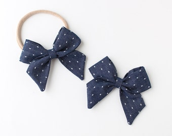 "Ink Chambray with Polka Dots Fabric ""Dahlia"" Bow"