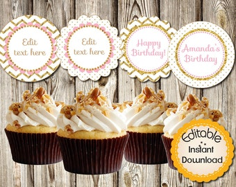 Editable Cupcake Toppers, Baby Shower, Birthday, Quinceañera, Pink and Gold, Girl, Tags, Labels, DIY, PDF, Instant Download, Round 2.5""
