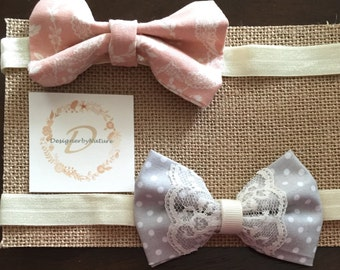 Set of 2•Vintage inspired head bands•Hair bows
