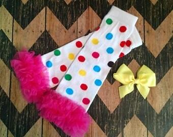 polka dot with hot pink ruffle baby leg warmers