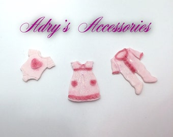 Fondant Baby Girl Clothes Cupcake Toppers