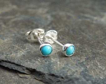 Natural turquoise gemstone earrings, 3mm cabochon, sterling silver, posts earrings, studs, December birthstone, second earrings