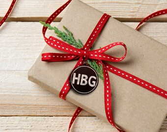 Custom Chalkboard Christmas Ornament - Coin with Initials