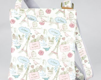 Oilcloth Crossbody bag - Paris Eiffel Tower - Ladies Purse - Ladies Handbag- Travel Satchel - Oilcloth bag - Oil cloth bag- Laminated cotton