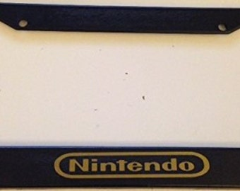 Nintendo Classic - Black with Gold Automobile License Plate Frame - Super