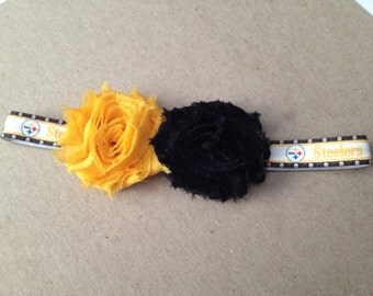 Steelers bow, Steelers infant headband, football headband