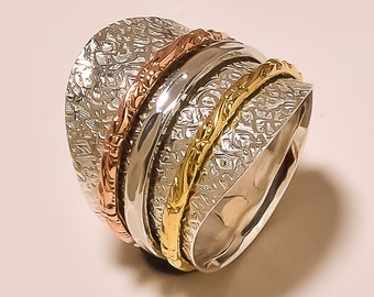 Three Tone Spinning ring, Meditation ring, statement ring, Spinner Ring US-6,7,8,9,10 Jewelry, free shipping