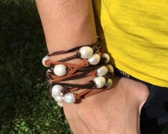 Pearl and Leather Wrap (Necklace, Bracelet, Belt, or Arm Cuff)