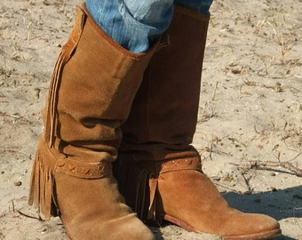 Boho Fringed Boots Vintage Suede Leather Cowgirl Boots Cowboy Festival Coachella Western Hippie Minnetonka Style
