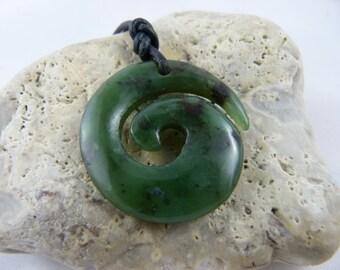 Necklace, pendant Koru spiral, Maori symbol, nephrite jade