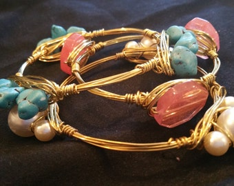 Set of 3 wire wrapped bangles with stone and glass beads 102
