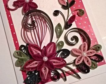 Quilling Card, Birthday Quilling Card, Mother Day Card, Handmade Quilling Card, Happy Birthday Card