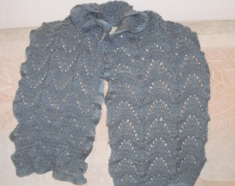 Knitted scarf light gray with a soft, wool,mohair,acryl, lace, hand knitted scarf