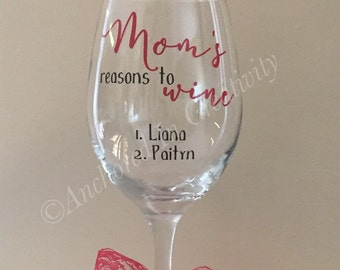 Personalized Wine Glass, Mother's Day Gift, Custom Wine Glass, Gift for Mom, Gift for Grandmother