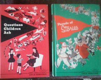 Questions Children ask and Parade of stories Child Horizons books. 1961 lot of 2 red green vintage