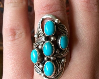 Four Stone Turquoise Saddle Ring size 7 Signed