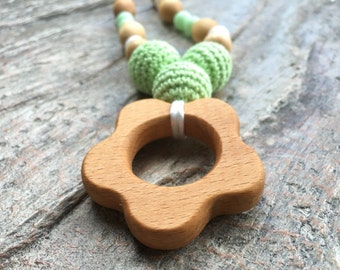 Flower Power Wooden Nursing Necklace