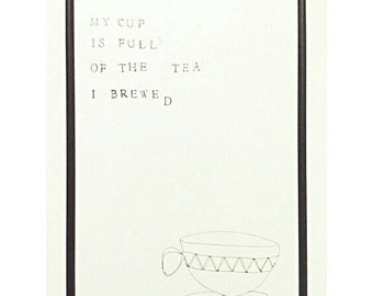 Hand stamped original signed poetry / poem and illustration wall art