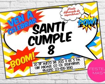 Printable birthday invitation. Birthday for superhero, comics, action, printable, digital.
