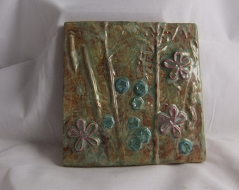 Ceramic Art Tile Moss Green Wildflowers 1 blue and purple