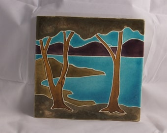 Ceramic Art Tile-Lakeside blue and purple and green  LS201