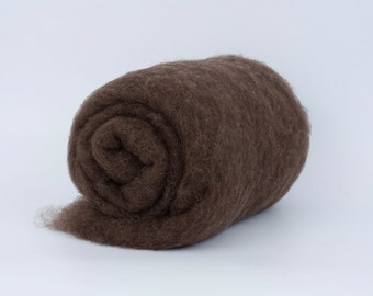 Brown 24 mic Carded Wool Batt 1.77oz (50gr) Felting wool, for spinning and needle felting.  100% wool.