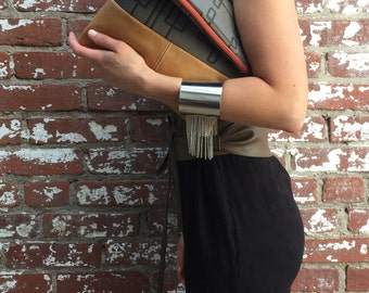 Fold Over Clutch-  Italian Leather- day- evening- Purse