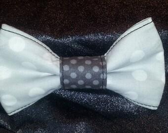 Gray W/ white polka dot Bow tie