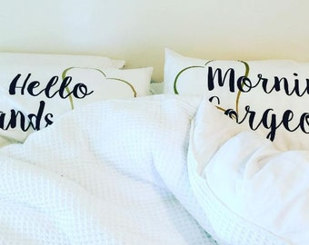 Morning Gorgeous Set - Engagement gift, Wedding Gift, Pillowcases, Couples pillow cases, His and Hers Pillowcase, Decorative, Gift for bride