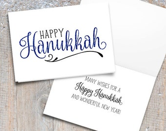 Happy Hanukkah Digital 5x7 Printable Folded Card - Size When Opened Is 10x7 - Happy Holiday Wishes Typography Blue Glitter Script Ornamental