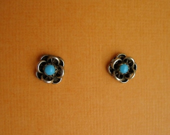 Vintage Turquoise and Sterling Silver Earrings - 1970's Era
